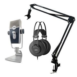 AKG Lyra USB Microphone with Broadcast Stand and Headphones