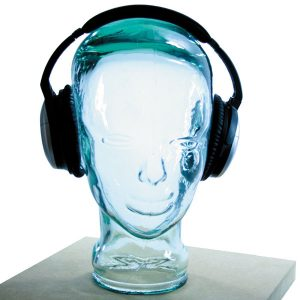 AMP3 Luxury Glass Head Headphones Stand Colour CLEAR