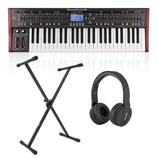 Behringer DeepMind 12 Synthesizer With Stand and Headphones