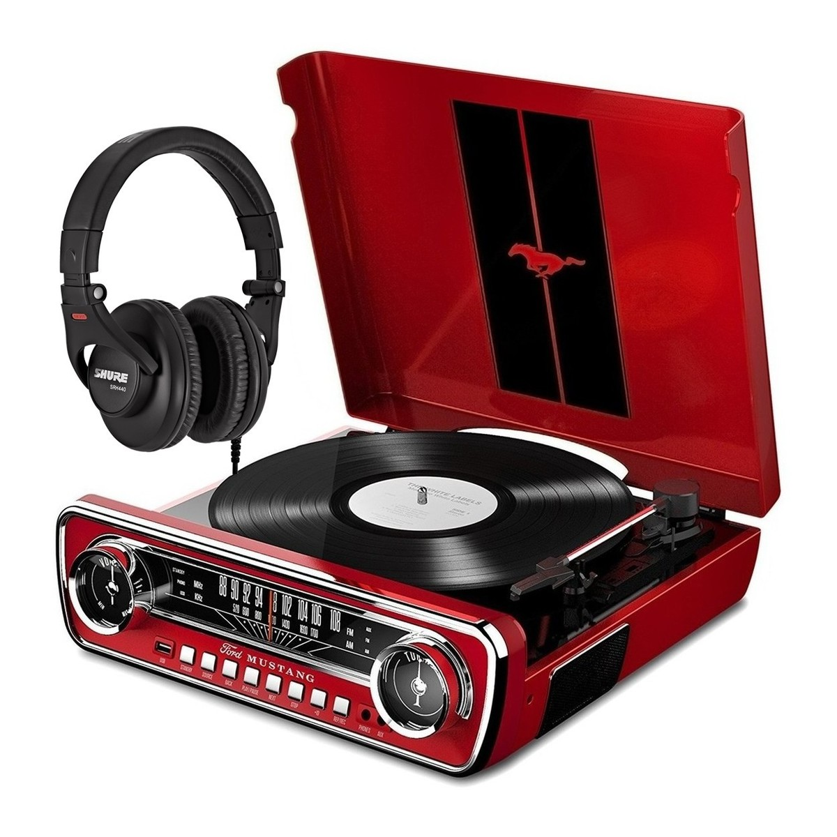 ION Mustang LP Red With Shure SRH440 Headphones