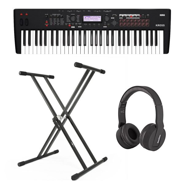 Korg Kross 2 61 Key Synthesizer Workstation with Stand and Headphones