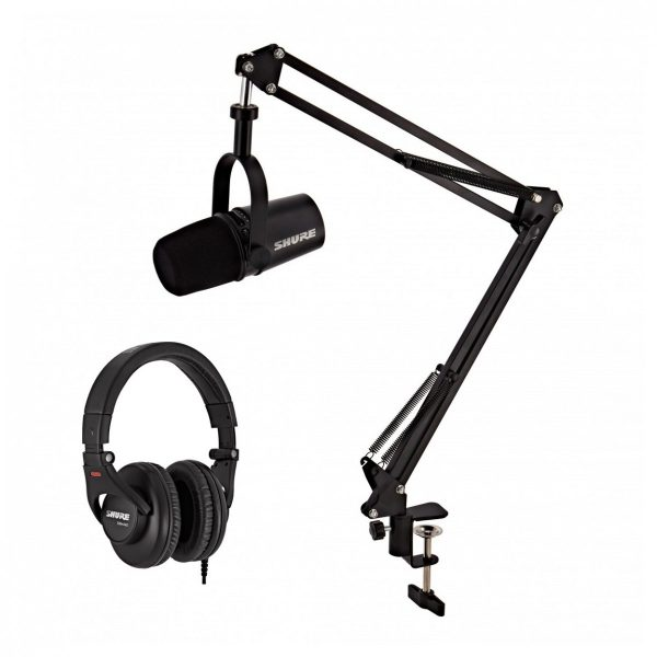 Shure MV7 Podcast Microphone Black with Studio Arm and Headphones
