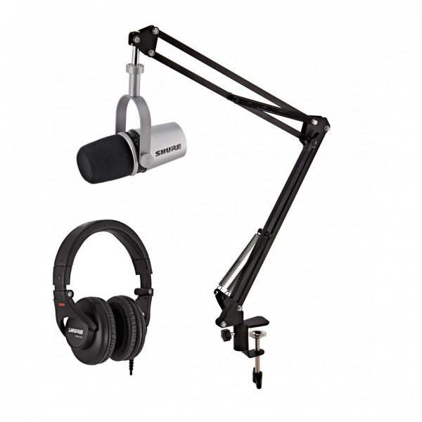Shure MV7 Podcast Microphone Silver with Studio Arm and Headphones