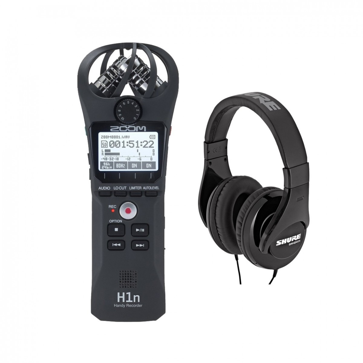Zoom H1n Recorder Black with Shure SRH240A Headphones