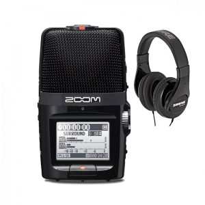 Zoom H2n Recorder Black with Shure SRH240A Headphones