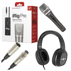 iK Multimedia iRig PRE for iOS With Mic Headphones and Cable