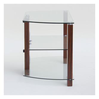 TTAP L630 600 3WC Vision 600mm TV Stand in Walnut with Clear Glass